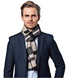 Bufanda de Hombre la tela escocesa cozy Abrigo Del Mantón cuello bufanda Regalos para Hombre (Blanco)