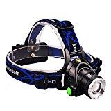 Ultra Brillante Linterna Frontal impermeable con Zoom Luz de Bicicleta adjustable Frontal Running Cambia El Ángulo de 90 Grado para Camping Caza Ciclismo Trabajo Pesca