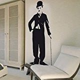vinilo decorativo Charles Chaplin. Color negro. Medidas: 45x115cm.