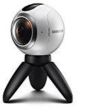 SAMSUNG Gear 360 - Cámara 360 Grados (Sensor Dual CMOS 15 MP, Objetivo Ojo de pez Dual f2.0), Color Blanco y Negro [Versión importada: Podría presentar Problemas de compatibilidad]