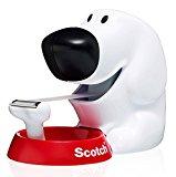Scotch Dispensador para Cinta Adhesiva con Forma de Perro - Para Cinta de hasta 19mm de Ancho y 33m de Largo - Dispensador Rellenable para la Escuela, el Hogar y la Oficina - Color Blanco