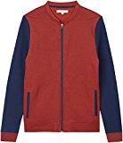 Activewear Chaqueta Estilo Bomber con Mangas en Contraste para Hombre, Rojo (Oxblood), Large