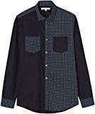 Marca Amazon - find. Camisa Estampada con Paneles en Contraste para Hombre, Negro (Black), 41 cm, Label: XL
