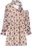 Marca Amazon - find. Mujer Vestido Corto con un Hombro al Aire de Flores, Multicolor (Cream Mix), 44, Label: XL
