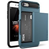 Funda iPhone 8, iPhone 7 para Targeta VRS Design® Carcasa Protector [Azul] Funda Billetera Choque Absorción Doble Capa [New Damda Glide] para Apple iPhone 8 (2017), iPhone 7 (2016)