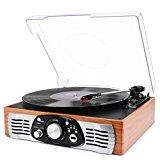 1 BY ONE Tocadiscos Estéreo de 3 velocidades con Altavoces incorporados, graba de Vinilos a MP3, Reproducer MP3, Salida RCA, Madera de Natural