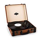 Auna - Tocadiscos en maletín Jerry Lee, de Estilo Vintage, Compacto y portátil, Altavoces Integrados, asa para Transporte, USB, MP3, Color marrón