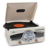 AUNA MG-TT-82C Tocadiscos Retro - Lector de vinilos, Altavoces Integrados, 33/45 RPM, AUX 3,5 mm, Radio FM/Am, RCA Stéreo, Accionamiento por Correa, Beige