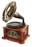Ricatech RMC350 Legend Music Centre 5 en 1 con trompeta vintage | Tocadisco de 3 velocidades y altavoces incorporados, reproductor de CD, ranura USB y SD, radio AM/FM y Line-In entrada para otros dis