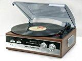 Soundmaster PL186H - Reproductor de vinilos (AM/FM, estéreo, 33/45/78 rpm), color marrón