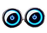 Hosaire Gemelos de Botón de Encendido Diseño Creativo 18X18 mm Gemelos Camisa Acero Inoxidable Color Plata y Azul