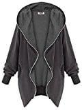 DJT Mujeres Abrigo Gabardina Impermeable de Manga Larga con Capucha Coat Jacket Gris Oscuro L