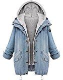 Minetom Mujeres Otoño Invierno Mezclilla Abrigo Con Capucha Chaquetas Capa Chamarra Doble Abrigos Azul ES 36