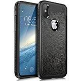 Funda iPhone X, KuGi anti-rasca la Carcasa del teléfono TPU del de la imitación ninguna Case del teléfono móvil caja del teléfono Cover para Apple iPhone X Smartphone, (Negro)