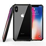 OMOTON Funda iPhone X, Nueva Funda Suave TPU + Durable Transparente PC + TPE Color, iPhone X Carcasa, 5.8 Pulgadas, Negro + Gris