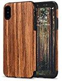 TENDLIN Funda iPhone X/Funda iPhone XS Grano de Madera y Silicona TPU Híbrido Suave Funda para iPhone XS/iPhone X - Sándalo Rojo