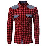 Camisa Hombre, Manadlian Hombres camiseta manga larga de otoño Camisa a cuadros Blusa superior (L, Rojo)