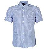 Pierre Cardin - Camisa Casual - con Botones - con Botones - Manga Corta - para Hombre Blau/Weiss Streifen Medium