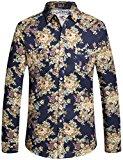 SSLR Camisa Estampado Floral Manga Larga Casual de Algodón para Hombre (Medium, Azul Ligero)