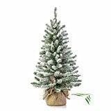 artplants.de Mini árbol de Navidad Artificial Viena en Saco de Yute, nevado, 90cm, Ø 50cm - árbol sintético - Planta Artificial