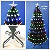 Árbol de Navidad artificial verde con luces led y fibra óptica Envio Gratis* C/Soporte metálico 60cm-180cm 6 Modelos (120CM 126LEDs, Bola Mate C/Prog.)