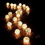 ANKKO 20 cadena de hadas bola rota LED luces de Patio para exterior, jardines, casas, boda, partido blanco