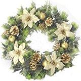 Artificial corona de Navidad para interiores y exteriores, dorado, 16 pulgadas