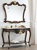 Simone Guarracino Mueble de baño con Espejo Eleonor Estilo Barroco Inglese Color Nogal Detalles Hoja Oro mármol Crema