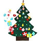 Árbol de Navidad de fieltro de 3' con adornos - decoración colgante