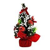SMARTLADY 20cm Árboles de navidad Adorno Decoración de Mesa Hogar (Rojo)