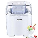 Aicok Maquina de Helados, Yogurts y Sorbetes de 1,5 Litros de Capacidad con Función de Temporizador, Blanco