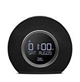 JBL Horizon - Radio reloj Bluetooth con carga USB y luz ambiental, con 2 alarmas, radio FM, pantalla LCD, batería de reserva y sonido estéreo JBL