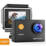 Apeman A60 - Cámara de acción 1080p HD, 12MP, impermeable, Cam 170 Ultra Gran Angular Lente con kit de Accesorios de Montaje para Ciclismo, Negro