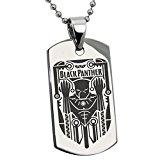 Acero Inoxidable Marvel Black Panther Crest Logo Grabado Placa de Identificación del Colgante