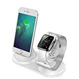 iitrust Soporte para iPhone y iWatch, 2 en 1 Soporte de Aleación de Aluminio para Apple Watch,Soporte Movil Cargador para iPhone 5S / 5 / SE/ 6/ 6s /6 plus/ 6splus/7 /7 plus /8 /x