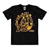 Logoshirt Pelicula - Marvel Comics - Superhéroes - Los Vengadores - Infinity War - Camiseta 100% algodón ecológico (Cultivo ecológico) - Negro - Diseño Original con Licencia, Talla XL