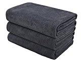 Hope Shine juego de toallas gimnasio microfibra secado rápido toallas deportivas suaves Paquete de 3, 40cm X80cm (GrisX3)