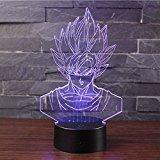 3D Lámpara de Escritorio Mesa 7 cambiar el color botón táctil de escritorio del USB LED lámpara de tabla ligera Decoración para el Hogar Decoración para Niños Mejor Regalo (Dragon Ball)