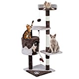 Homgrace Árbol para Gatos Juguete Rascador para Gatos para Que los Gatos para Relajarse, Jugar y Descansar Color Marrón (112 cm)