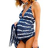 QinMM Traje de baño Mujer Maternidad Premamá Para Mujer Rayado Deportes Tankini Bañador de una pieza Pregnancy Bikini (B, XL)