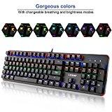 Teclado Mecánico Gaming 105 Teclas y Switches Blue, Teclado para Juego con Cable RGB Retroiluminado Mechanical Keyboard con Disposición Española ( Tiene ñ)