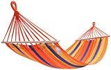 KingCamp Hamaca de Tela Camping Exterior Picnic Soporta hasta 100kg (Raya naranja)
