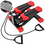 FEMOR Máquina de Step Máquina de Paso Piernas Hidráulicas para Entrenamiento Deporte Interior Fitness Mute Silencio con Cuerdas de Estiramiento Color Negro y Rojo