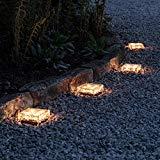 Lights4fun 4 Adoquines solares Grandes de luz LED Blanca Cálida para Uso en Exteriores