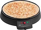 Clatronic CM 3372 Máquina de hacer crepes, tortitas, tortillas, plato 29 cm antiadherente, termostato regulable, 900 W, Cristal, Negro