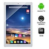Kivors 3G Tablet de 10.1 Pulgadas IPS HD (Quad Core Processor, 2GB RAM, 32GB ROM, Android 7.0, IPS HD 1280x800, Doble Cámara, Doble Sim, WiFi, Bluetooth 4.0, OTG) (Plata)