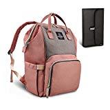 HEYI bolso cambiador multifuncional mochila de pañales bebe, bolso maternal mochila impermeable, mochila del viaje de la mamá de grande capacidad (Rosa y gris)