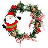 TOOGOO(R) 2Pcs Guirnalda de plastico de Navidad Guirnalda de decoraciones de Navidad para el hogar de pino Muneca de Nieve Papa Noel Decoracion de la puerta adornos