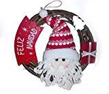 ANANDAYA Corona Guirnalda de Navidad Papá Noel para decoración de Puerta e Interiores. Decoración cálida para Momentos Felices e Importantes. La Mejor Bienvenida a su hogar y al Nuevo año