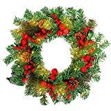HENGMEI 50cm Guirnalda de Navidad Corona de Navidad Decoración Guirnaldas de Puertas con LED Blanco cálido, para Fiestas de Navidad (C, con piñas y Manzana, LED)